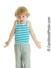 Shrugging child. Kid boy looks puzzled, isolated