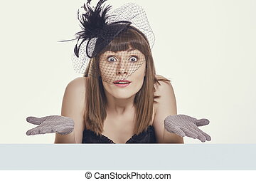 Shrugging clueless pretty woman
