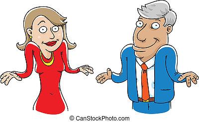 Shrugging Couple - A cartoon couple shrugging.