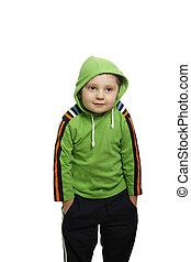 Shrugging shoulders - Boy in green shrugging shoulders...