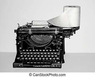 sh!tty writing - vintage typewriter with toilet paper as...