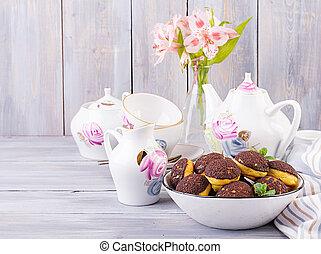Shu Cake. Tasty profiterole with cream on the plate. Copy ...