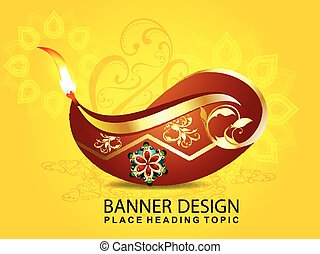 shubh diwali celebration background with floral vector...