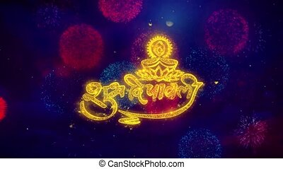 Shubh Diwali Greeting Text Sparkle Particles on Colored...