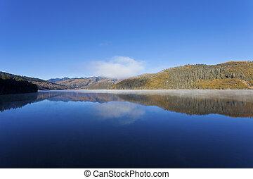 Shudu lake in Autumn. Pudacuo National Park in Yunnan...