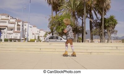 Shuffle And Sideways Skating - Young female african-american...
