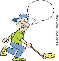 shuffleboard, ciudadano, juego, balloon., caricatura,...