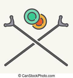 shuffleboard, cruzado, señal, palos, y, discos