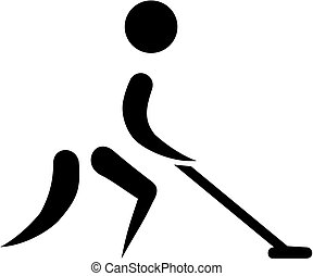 shuffleboard, hombre, icono