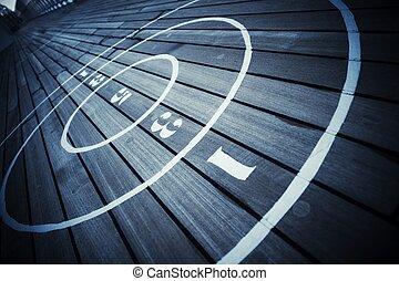 shuffleboard, juego, cubierta