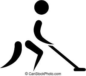 Shuffleboard man icon