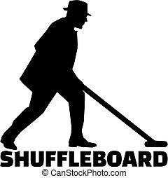 Shuffleboard man with word