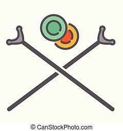 shuffleboard, señal, discos, cruzado, palos