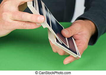 Shuffling cards - Detail take of a fortuneteller shuffling a...
