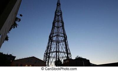 Shukhovskaya radio tower, night. Moscow, Russia
