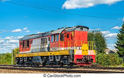 Shunter at Konyshevka station in Russia - Shunter locomotive...