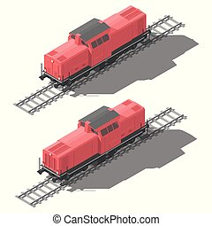 Shunting diesel locomotive isometric low poly icon set