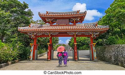 Shureimon Gate in Shuri castle in Okinawa, Japan.