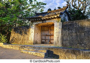 Old structures on the grounds of Shuri Castle in Okinawa, Japan.