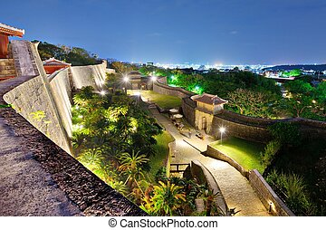 Shuri Castle in Okinawa, Japan - Protective wall on the ...