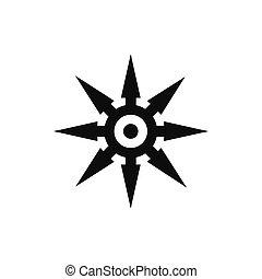 Shuriken black simple icon isolated on white background