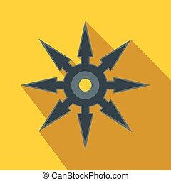 Shuriken flat icon on a yellow background