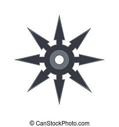 Shuriken flat icon isolated on white background