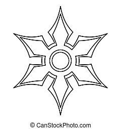 Shuriken icon, outline style - Shuriken icon. Outline...