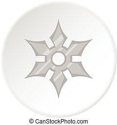 Shuriken weapon icon circle - Shuriken weapon icon in flat...