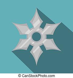 Shuriken weapon icon, flat style