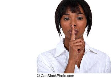 shushing., mulher americana, africano