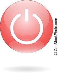shut down button. Bright switch off button