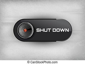 Shut Down Button - Shut down button on the black background....