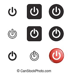 Shut down icon set. Vector black and red icons