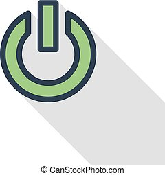 shut down thin line flat color icon. Linear vector symbol....