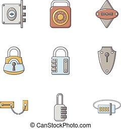 Shut icons set, cartoon style - Shut icons set. Cartoon set...