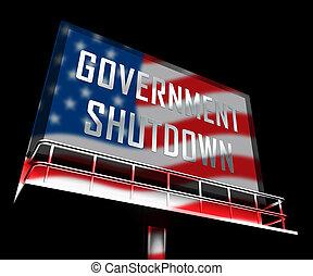 shutdown, governo, senado, meios, fechado, billboard, presidente, américa, ou