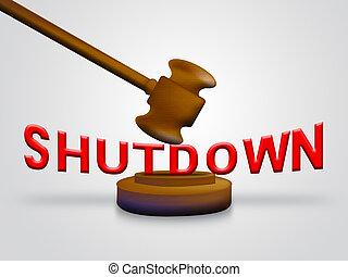 shutdown, governo, senado, meios, fechado, gavel, presidente, américa, ou