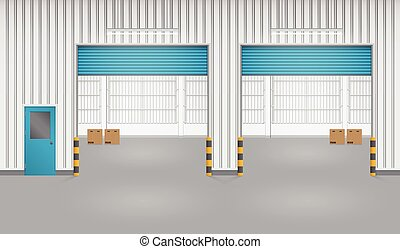 Shutter door - Illustration of shutter door and factory,...