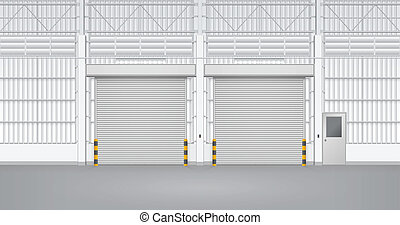 Illustration of shutter door and steel door inside factory, gray color.