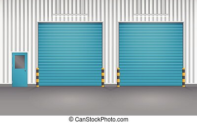 Illustration of shutter door and steel door outside factory, blue color.