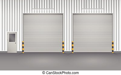 Illustration of shutter door and steel door outside factory, gray color.