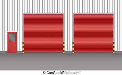 Illustration of shutter door and steel door outside factory, red color.