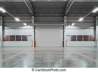 shutter door - Shutter door inside factory, night scene.