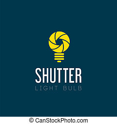 Shutter Light Bulb Abstract Symbol Icon on Blue Background