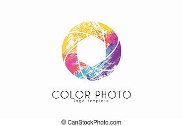 Shutter logo design. Photo logo. Creative logo. Color shutter.