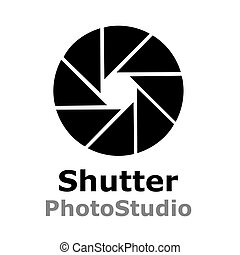 Shutter logo for photo studio isolated on white background