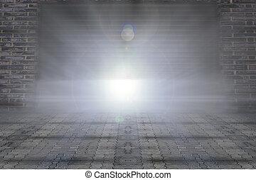 Shutter - Light shining inside the building, Building is...