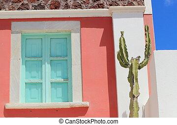 Shutters of a house, Santorini, Greece