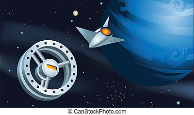 Shuttle Approaching Space Station - Illustration in retro...